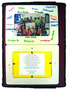 - end of year gift to my students: wooden frame ($1 at michaels), class picture, and added a poem for the back. I had the kids sign everyones frame with sharpie markers :)