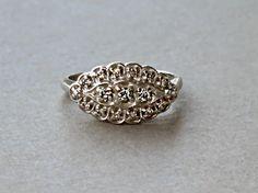 Vintage 14K Solid White Gold Cluster Diamond Ring  0088_46