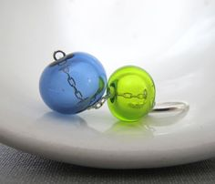Blown Glass Earrings Blue Glass Sapphire Blue Lime by fiveforty, $48.00