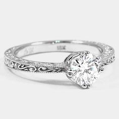 18K White Gold True Heart Ring // Set with a 0.85 Carat, Round, Very Good Cut, F Color, VS1 Clarity Lab Diamond #BrilliantEarth