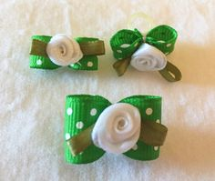 Green and White Pooka Dot Dog Grooming Glamour Set