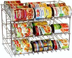 DecoBros Supreme Stackable Can Rack Organizer, Chrome Fin...