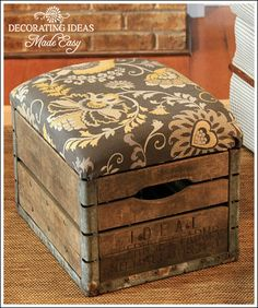 I love this!!!!!!! How to make an ottoman from a vintage milk crate