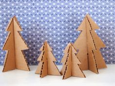 Patterns for Cardboard Villages | Cardboard Christmas Trees