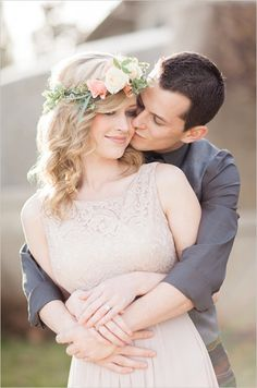 Wedding hair and make up ideas with floral halo. #weddinghair #engagements #weddingchicks Hair & Make Up By: Jennifer Abercrombie Beauty ---> http://www.weddingchicks.com/2014/04/25/table-for-two-romantic-engagement/