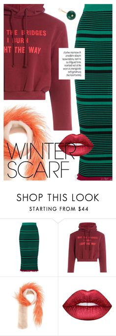 """""""Wrapper's Delight: Winter Scarf"""" by cultofsharon ❤ liked on Polyvore featuring Kenzo, Vetements, Prada, Lime Crime and Delfina Delettrez"""