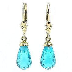 Stunning 7.0ct Blue Topaz Briolette Teardrop Leverback Earrings, Solid 14K Gold, $126.00
