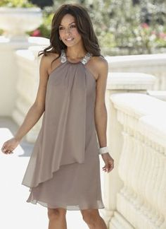 In gray and with wider straps. Perfect for your next summer party or elegant affair