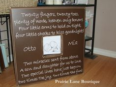 20x20 Custom Picture Frame with Twins Quote by prairieboutique