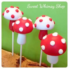12 Toadstool Mushroom Cake Pops for Woodland by SweetWhimsyShop