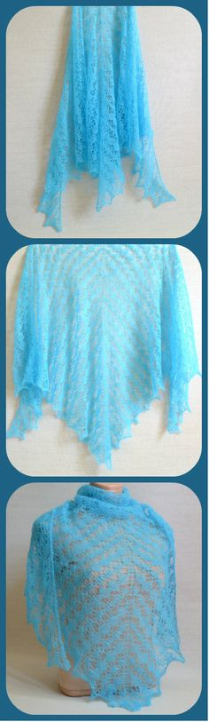 Triangle Hand Knitted Turquoise Mohair Wrap - Winter Wraps Shawls For Women - Women's Lace Mohair Shawl - Cristmas Gift - #ItWasYarn