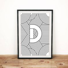 Digital Download Letter Print D Initial by FactoryTwentyOne