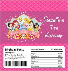 DISNEY PRINCESS BIRTHDAY Chocolate Bar or Candy Bar Wrapper. $3.00, via Etsy.