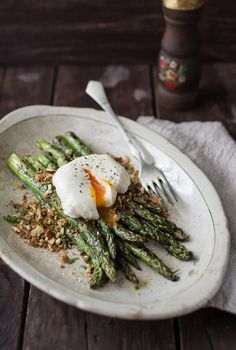 Grilled Asparagus with Lemon Anchovy & Garlic Bread Crumbs | BakeNoir