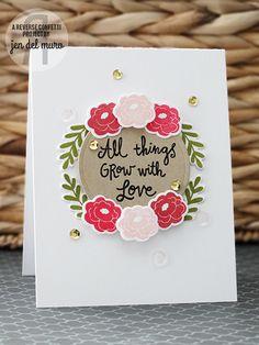 Card by Jen del Muro. Reverse Confetti stamp set and coordinating Confetti Cuts: Love Blooms. Valentine's card. Wedding card. Anniversary card.