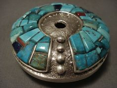 "THE BEST VINTAGE NAVAJO TUFA CAST """"HEAVY SILVER"""" INLAID SEED POT"