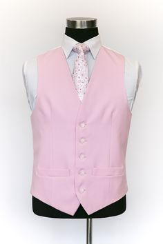 Pink Single Breasted Wool Waistcoat with Pink Floral Tie Wedding Waistcoats, Vest And Tie, Gentleman Style, Single Breasted, Floral Tie, Ushers, Mens Fashion, Elegant, Pints