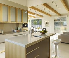 Modern U-shaped Grey kitchen, maple/beach cabinets, Henrybuilt and Butler Armsden Architects, San Francisco Bay Area