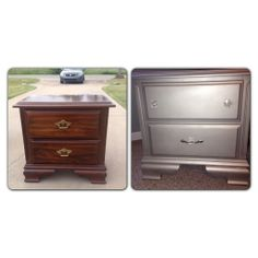 Before and after nightstand. Painted with Krylon Brushed Nickel spray paint.