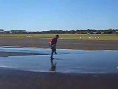 Morgan passes his flight test.  His success is celebrated with a little cool shower.