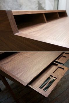 Its called theLaura Desk and Klebba initially designed it for ShowPDX a biyearly Portland-based furniture design competition. While the finished product is done up in the customers choice of ash cherry walnut or white oak Klebba first worked it o Deco Design, Wood Design, Design Desk, Wood Projects, Woodworking Projects, Woodworking Desk, Woodworking Videos, Studio Desk, Design Competitions