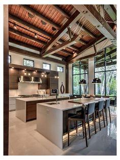 Modern Farmhouse Kitchens, Farmhouse Kitchen Decor, Farmhouse Style, Kitchen Modern, Kitchen Floor, Country Kitchen, Modern House Design, Modern Interior Design, Modern Glass House