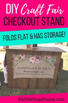 See how I built a DIY Folding Craft Fair Checkout Stand with scrap wood and $0. Ring up customers and package gifts on your own checkout station! This checkout stand folds flat for easy storage and travel. Hang your bags on the side and store your cash box and other necessities behind the stand on the shelves.