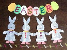 Super cute recycled newspaper bunny garland made paper doll style.