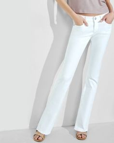 white low rise barely boot jeans from EXPRESS