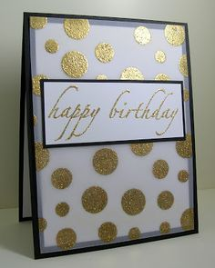 Polka Dot Embossed with Gold Birthday Card