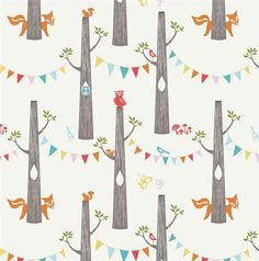 Woodland Party Print from the Circa 52 Collection by birch fabrics.