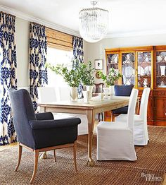 Bold Ikat Curtains For Dining Room Patterned Blue