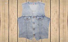 "Vintage Levis Sleeveless Denim Jacket Gilet Orange Tab Stonewash Blue Denim M 40"" Chest by BlackcatsvintageUK on Etsy"