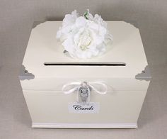 Antique White, Pearl, Silver Wooden Wedding Card Box Trunk. Shabby Chic Wedding…