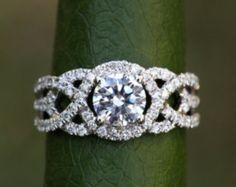 TWIST OF FATE - 14k - Diamond Engagement Ring - Halo - Unique - Swirl - Pave - 1 Carat Center diamond - Beautiful Petra Rings - Bp024