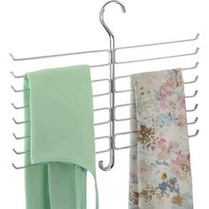 mDesign Metal Closet Rod Hanging Accessory Storage Organizer Rack for Scarves Ties Yoga Pants Leggings Tank Tops - Snag Free Geometric Design 16 Hook - Chrome Closet Rod, Closet Storage, Closet Organization, Organizing, Master Closet, Organization Ideas, Hanging Closet Organizer, Hanging Storage, Organiser Son Dressing