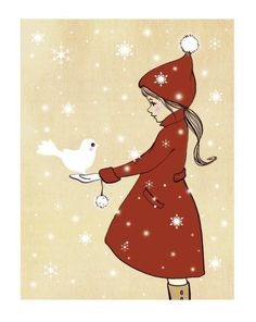"Such sweet, simple artwork--""Elle and the Snow Dove,"" available at etsy.com"