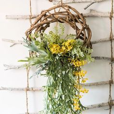 Wreath Spring Green on Rattan – RusticReach Diy Wreath, Grapevine Wreath, Metal Hanging Planters, Twig Crafts, Summer Wreath, Spring Wreaths, Yellow Plants, Boxwood Topiary, Artificial Boxwood