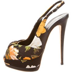 Giuseppe Zanotti Floral Print Slingback Pumps ($175) ❤ liked on Polyvore featuring shoes, pumps, black, slingback pumps, floral print pumps, black slingback pumps, satin peep toe pumps and black ankle strap pumps
