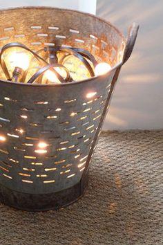 Leuk idee: lichtjes in een mand #pintratuin