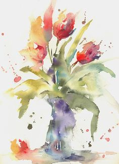 Simple loose watercolour 'tulip's' with andrew geeson tutoriales de acuarela, videos para pintar Watercolor Art Landscape, Watercolor Art Paintings, Easy Watercolor, Floral Watercolor, Flower Paintings, Watercolours, Watercolor Artists, Watercolor Images, Watercolor Trees
