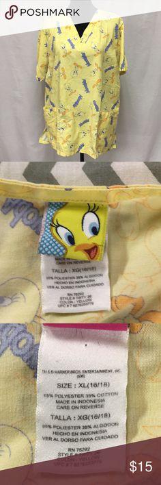 Scrub (Tweetie bird) Adowable Tweetie Bird scrub. It has faded some warner brothers Tops Blouses