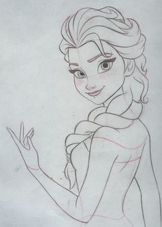 Elsa. . Final clean up drawing. Pencil and paper.