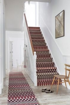 Fair Isle print stair runner by Margo Selby for Alternative Flooring Wall Carpet, Carpet Stairs, Bedroom Carpet, Rugs On Carpet, Carpets, Fur Carpet, Black Carpet, Bohemian Style Home, Patterned Stair Carpet