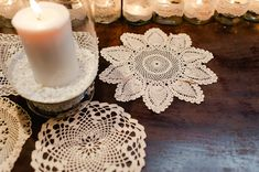 Doilies used to style the tables at this wedding reception.  From 'A Suzanne Neville Gown, Red Lips And Touch Of Old Hollywood Glamour.'  http://www.alexa-loy.com/
