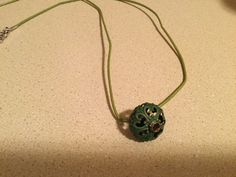 Olive Green Cord with a Green Metal Pendant by kaysjewelrydesign on Etsy