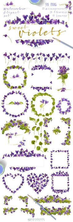Sweet Violets by watercolorwild.graphics on @creativemarket