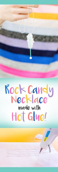 DIY Rock Candy Necklace from Hot Glue! Make this DIY Rock Candy Necklace out of just hot glue, a toothpick and a bead! Diy Crafts For Teen Girls, Crafts For Teens To Make, Tween Girls, Diy Jewelry For Tweens, Jewelry Ideas, Candy Necklaces, Candy Jewelry, Upcycled Crafts, Make Rock Candy