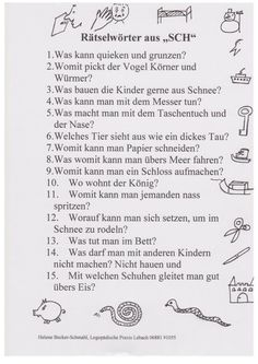 Riddles: words with [sch] - Miscellaneous - lernen The Words, Kindergarten Portfolio, Social Skills For Kids, German Language Learning, Learn German, Blog Love, Riddles, Speech Therapy, Kids And Parenting