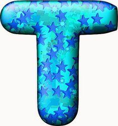Alfabeto Celeste con Estrellas Azules.